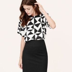 LOFT triangle black and white midi crop top